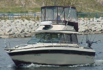 "Our Muskegon based charter boat the ""Margie J"" is a 33 ft. Chris Craft with all the comforts of home.  We provide everything to keep you safe, comfortable and catching trophy Salmon and Steelhead from Muskegon, Michigan."